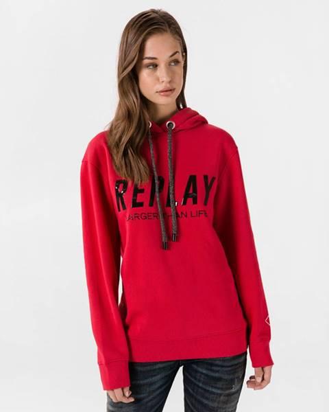 Červená mikina s kapucňou Replay