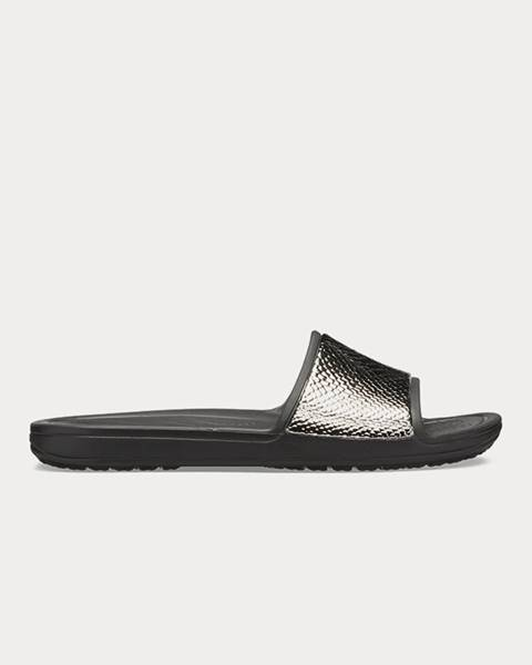 Papuče Crocs Sloane MetalText Slide W Gunmetal/Black Čierna
