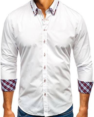 Biela pánska elegantá košeľa s dlhými rukávmi