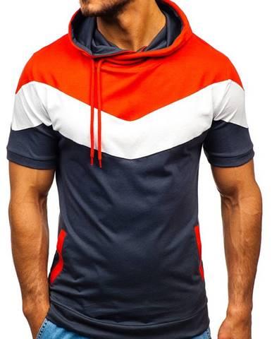 Grafitové pánske tričko s potlačou a kapucňou