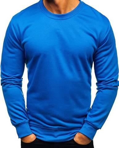 Modrá pánska mikina bez kapucne