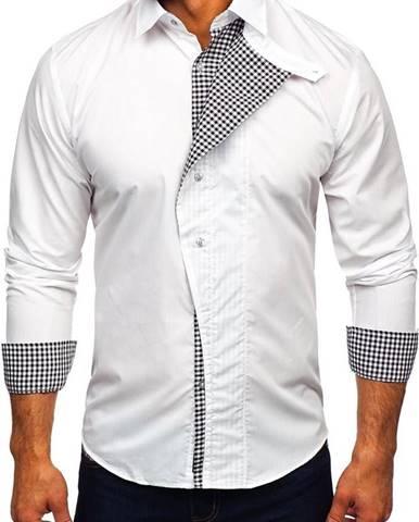 Biela pánska košeľa s dlhými rukávmi