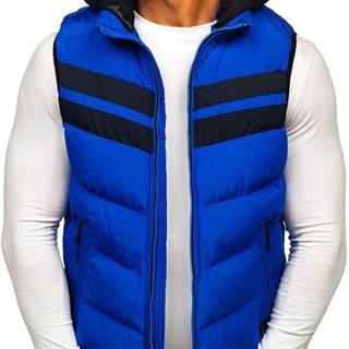 Modrá pánska vesta s kapucňou