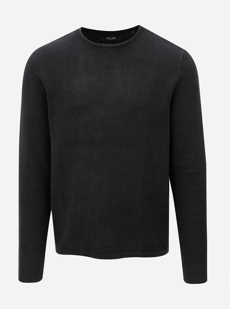 Tmavosivý sveter s okrúhlym...