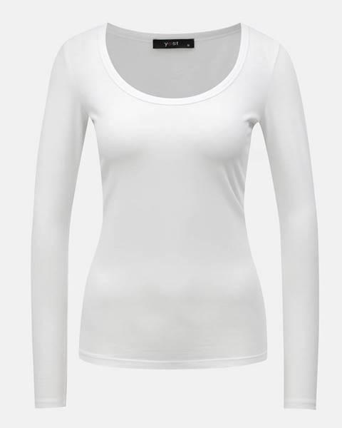 Yest Biele basic tričko s dlhým rukávom Yest