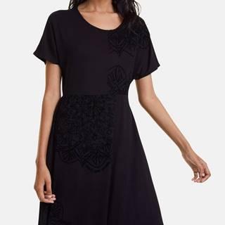 Čierne šaty so sametovými detailmi Desigual