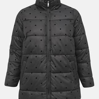 Zizzi Čierna bodkovaná prešívaná zimná bunda Zizzi Dot