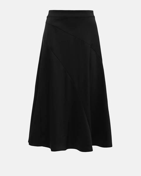 Vero Moda  Čierna saténová midi sukňa VERO MODA Gabbi