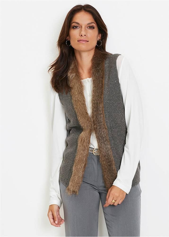 Pletená vesta s kožušinkou