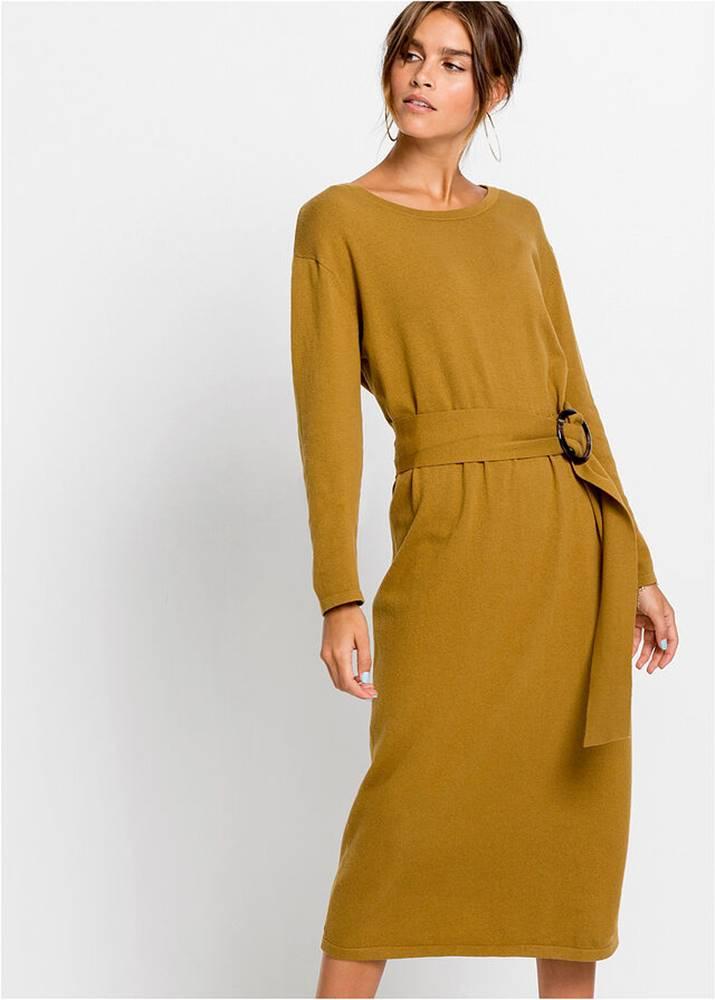 bonprix Pletené šaty s opaskom