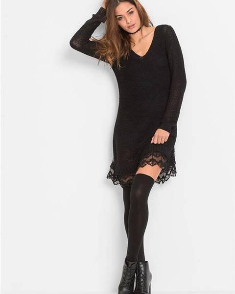 Čierne pletené šaty bonprix