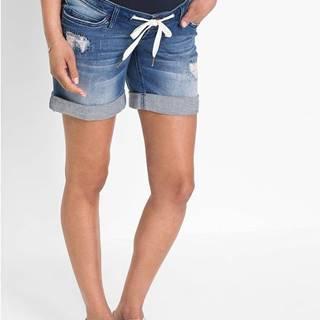 Tehotenské džínsové šortky so šnúrkou