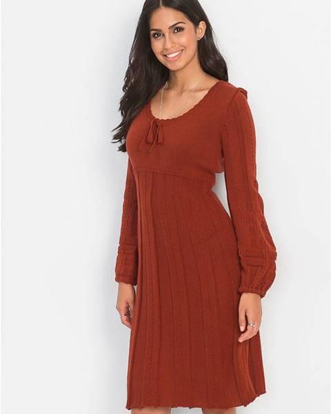 Červené pletené šaty bonprix