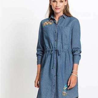 Džínsové šaty, s výšivkou, dlhý rukáv