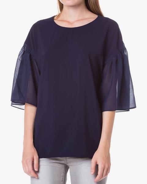Modrá košeľa s krátkym rukávom Pinko