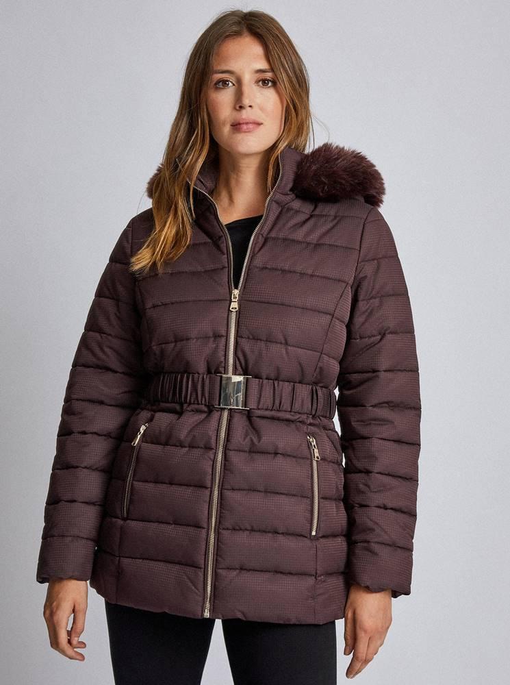 Dorothy Perkins Tmavohnedá vzorovaná prešívaná zimná bunda Dorothy Perkins