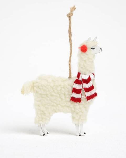sass & belle Krémový prívesok v tvare lamy Sass & Belle Festive Llama