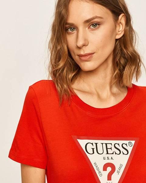 Červené tričko Guess Jeans