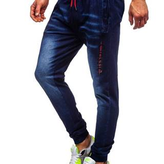 Tmavomodré pánske rifľové joggery