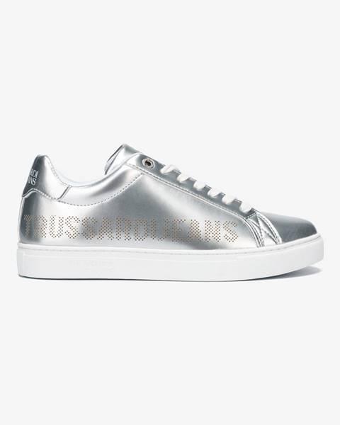 Trussardi Jeans Topánky Trussardi Sneaker Ecoleather Perforated Strieborná